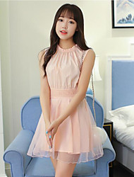 2017 spring and summer new Korean temperament ladies small fresh solid color Slim waist dress