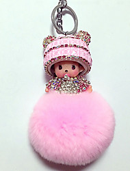 Dolls Key Chain Diamond Toys Leisure Hobby Pink Crystal