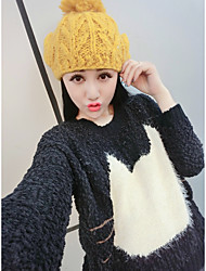 Sign Fan art autumn and winter pullover cute cat head pattern round neck wool sweater
