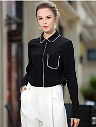 Women's Casual/Daily Work Party/Cocktail Simple Street chic Spring Shirt,Solid Shirt Collar Long Sleeve Black Silk Medium
