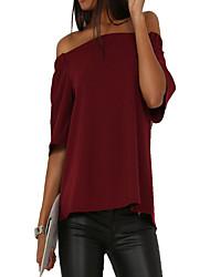 Damen Solide Sexy Einfach Ausgehen Lässig/Alltäglich T-shirt,Bateau Frühling Herbst ½ Länge Ärmel Blau Rosa Rot Beige Schwarz Grau
