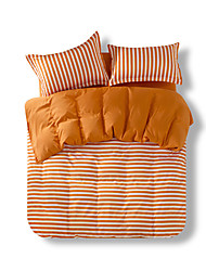 Mingjie Reactive Print Orange StripeBedding Sets 4 Pcs for Queen Size Contain 1 Duvet Cover 1 Bedsheet 2 Pillowcases from China