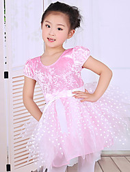 Children's Ballet Performance Dance Dress Polyester/Cotton Splicing Bows 1 Pieces Short Sleeve Dress Pink Kid's Dancewear