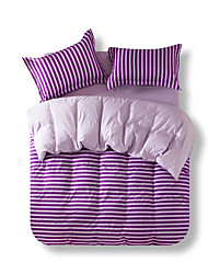 Mingjie Reactive Purple Stripe Bedding Sets 4 Pcs for Queen Size Contain 1 Duvet Cover 1 Bedsheet 2 Pillowcases from China