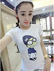 unterzeichnen Europa Station 2016 neue wulstige Baumwolle gedruckt Kurzarm-T-Shirt dünnes Hemd weiblichen Sommer Gezeiten