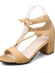 Women's Sandals Summer Fall Gladiator Club Shoes Fleece Office & Career Dress Casual Chunky Heel Block Heel Lace-up Black Beige Red
