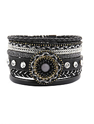 Fashion Women Trendy Multi Rows Crystal Set Beads Flower Decorated Bracelet