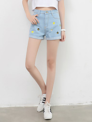 Zeichen Sommer koreanischen wilden lose Taille war dünn curling Jeans-Shorts Shorts Stern Stickerei weibliche Gezeiten
