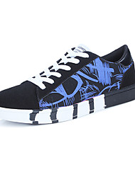 Men's Flats Spring Fall Comfort PU Outdoor Flat Heel Lace-up Black/Blue Black/White Black and Red Walking