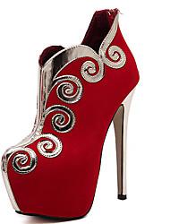 Mujer-Tacón StilettoTacones-Vestido-Vellón-Negro Rojo