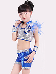 Jazz Outfits Children's Performance Spandex Polyester Bow(s) Sequins Splicing 4 Pieces Sleeveless High Top Bracelets Shorts