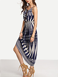 Women's Boho Going out Casual/Daily Beach Sexy Simple Street chic Sheath Dress,Geometric Print Color Block Backless Strap Midi Sleeveless Cotton Blue