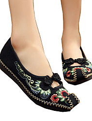 Women's Flats Spring Summer Fall Winter Comfort Novelty Embroidered Shoes Canvas Outdoor Athletic Casual Flat Heel Flower Black Red