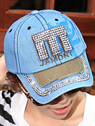 Women Denim M Letters Embroidery Rhinestones Printing Leisure Cowboy Baseball Hat