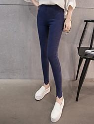 Sign 2017 big yards stovepipe Denim leggings outer wear black female feet pants trousers Korean