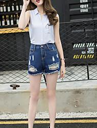Damen Schlank Jeans Kurze Hosen Hose,Ausgehen Lässig/Alltäglich Einfach Niedlich einfarbig Ripped Hohe Hüfthöhe Reisverschluss Knopf