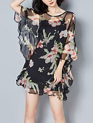 Feminino Chifon Vestido,Para Noite Festa/Coquetel Moda de Rua Estampado Decote Redondo Assimétrico Manga ¾ Poliéster Primavera Verão