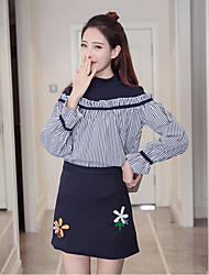 Sign 2017 Korea chic style knit stitching half high collar striped shirt + wild pack hip skirt suit