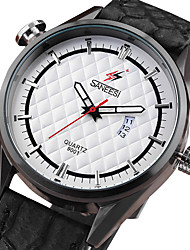 Men's Fashion Watch Wrist watch Calendar Quartz Leather Band Cool Casual Unique Creative Black
