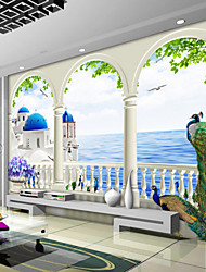 Art Deco Wallpaper For Home Wall Covering Canvas Adhesive Required Mural Blue Castle Beautiful Peacock Scenery XXXL(448*280cm)