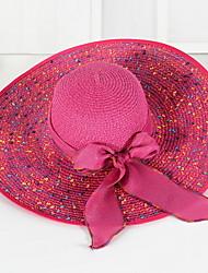 Bow Beach Cap Floppy Foldable Girls Big Wide brim Straw hat