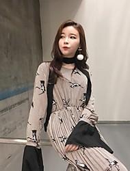 Feminino Vestido Manga Longa Preto Micro-Elástica