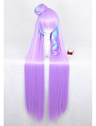110cm Long Straight Pink Blue Mixed Macross Mikumo Guynemer Synthetic Anime Cosplay Wig1Ponytail CS-291A