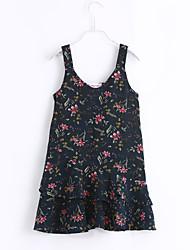 Girl's Beach Floral Print Dress,Cotton Summer Sleeveless