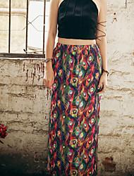 Women's OL Plus Size Pencil Bodycon Floral Print Split Skirts Work Boho High Rise Above Knee Zipper Elasticity Cotton