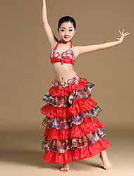 Belly Dance Outfits Children's Performance Chinlon Organza SatinBeading Cascading Ruffle Rhinestones Paillettes Ruched Split Tiers