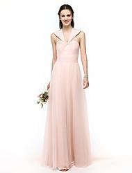 LAN TING BRIDE Floor-length Halter Bridesmaid Dress - Elegant Sleeveless Tulle