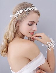 New Heavy Handmade Women's Pearl / Rhinestone / Imitation Pearl Lavenders Headpiece & Wrist Corsages (Suit)