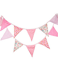 3.6m 12Flags Pink Floret  Banner Pennant  Cotton Bunting Banner Booth Props Photobooth Birthday Wedding Party Decoration