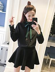Sign 2017 spring new Korean chiffon bow blouse + two-piece skirt waist wild woman