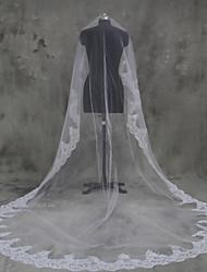 Voiles de Mariée Une couche Voiles Blush Voiles cathédrale Bord en dentelle Tulle