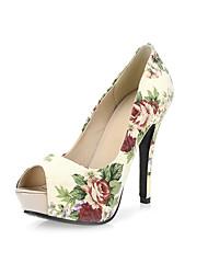 Sandals Spring Summer Fall Comfort Linen Wedding Party & Evening Casual Stiletto Heel Flower Blue Beige Walking