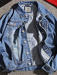 Casual/Daily Simple Denim Jacket,Print Shirt Collar Long Sleeve Spring Wash separately Wash inside out Cotton Regular