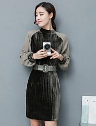 2017 spring new Korean ladies temperament horn sleeve velvet dress Girls long section was thin base skirt