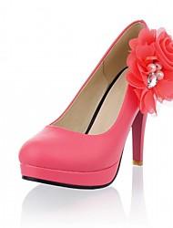 Women's Heels Spring Fall Comfort Leatherette Office & Career Party & Evening Dress Stiletto Heel Flower Black Pink White