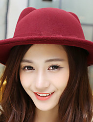 женщины осени зима кошачьих уши лук чистого цвета англия ветер кашемир джаз шляпа бассейн ковш