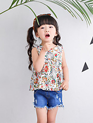 Casual/Daily Beach Holiday Solid Floral Tank & Cami,Cotton Summer Sleeveless Short