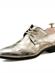 Herren-Outdoor-Lässig-PU-Flacher Absatz-Komfort-Schwarz Silber Gold