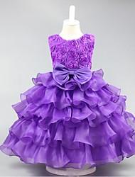 Robe de bal courte / mini robe de fille de fleur - organza sans manches cravate avec volants