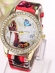 Women's Fashion Watch Simulated Diamond Watch Quartz Imitation Diamond Leather Band Butterfly CasualBlack White Blue Red Brown Green Pink