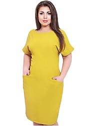 Women's Plus Size Fat Simple Solid Round Neck Loose Above Knee Short Sleeve Shift Dress