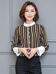 2017 spring new female long-sleeved striped shirt cuffs big temperament Slim bottoming shirt tops