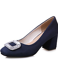 Women's Heels Spring Summer Fall Winter Club Shoes PU Fleece Office & Career Party & Evening Dress Chunky Heel Rhinestone Black Blue Red