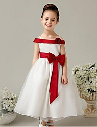 Ball Gown Ankle Length Flower Girl Dress - Organza Sleeveless Off-the-shoulder with Flower by YDN