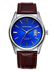 Men's Dress Watch Fashion Watch Quartz Calendar Leather Band Casual Black Brown