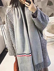 Korean version of the new autumn and winter solid color stitching stripe width scarves wild scarf fringed long paragraph female students